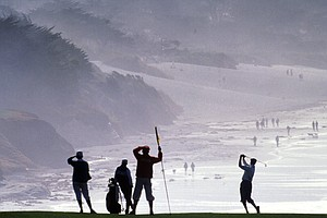 Payne Stewart plays from the ninth fairway during the 1991 AT&T Pebble Beach.