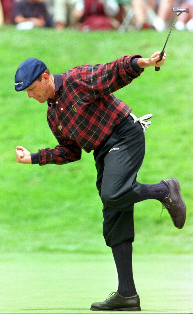 Payne Stewart reacts to a birdie putt on the 18th hole en route to a 66 on the opening day of the 1998 U.S. Open at the Olympic Club in San Francisco.
