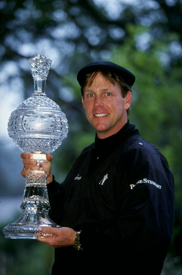 Payne Stewart poses with the winners trophy after the 1999 AT&T Pebble Beach National Pro-Am.