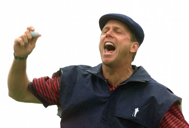 Payne Stewart celebrates after sinking his winning putt on the 18th green to win the 1999 U.S. Open.