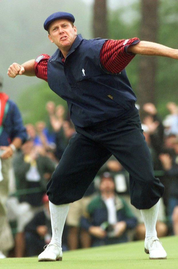 Payne Stewart celebrates after sinking his winning putt on the 18th green at Pinehurst during the final round of the 1999 U.S. Open.