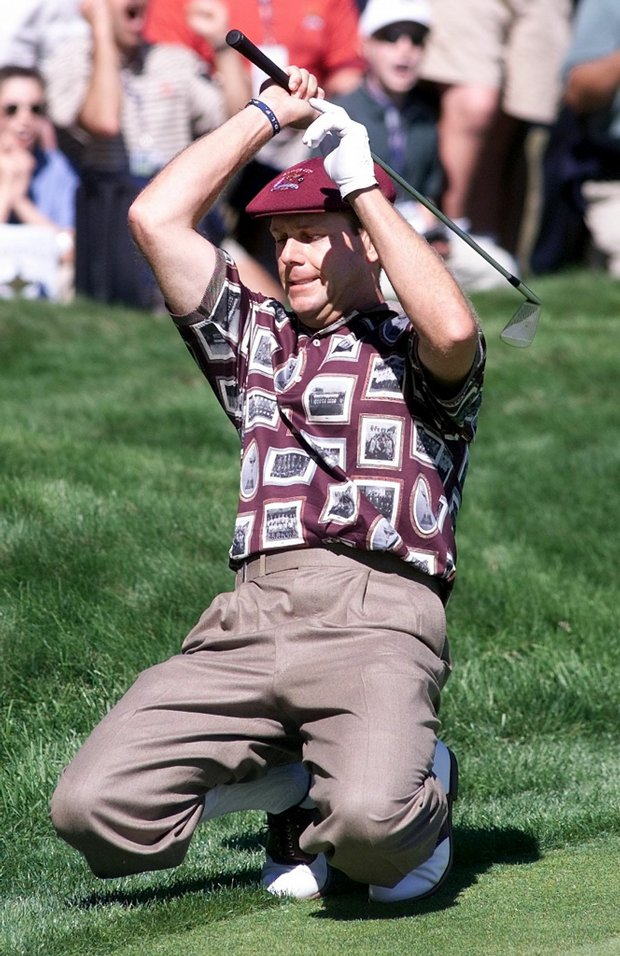 Payne Stewart falls to his knees after missing a chip shot Sept. 26, 1999 at the Ryder Cup.
