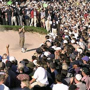 Payne Stewart plays from a bunker during the Ryder Cup at the Brookline in 1999.