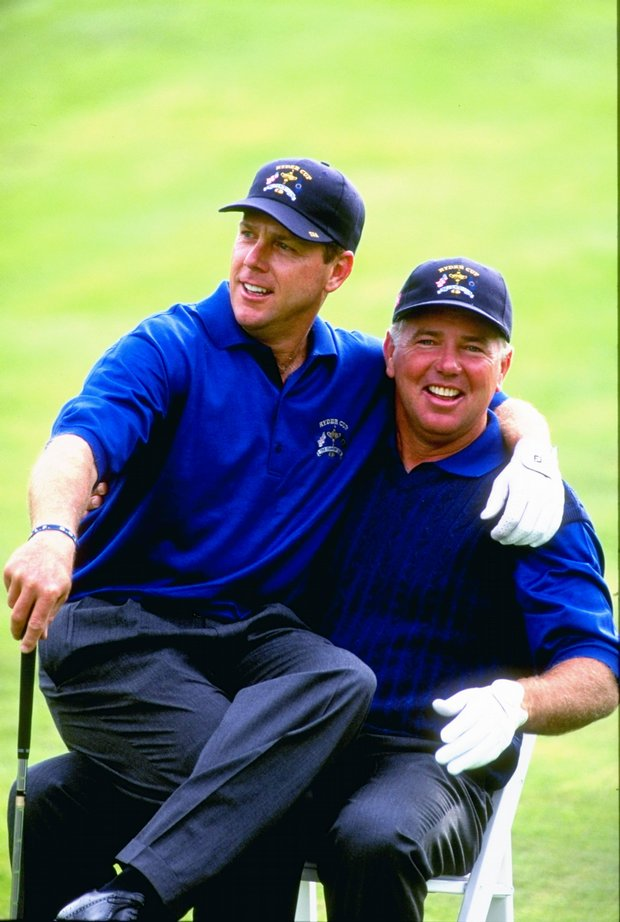 Payne Stewart and Mark O''Meara after winning the Ryder Cup in 1999 at Brookline Country Club.