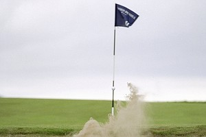 Payne Stewart out of a bunker on the 11th hole during the 1999 Alfred Dunhill Cup played at The Old Course at St. Andrews.