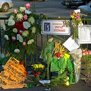 Flowers adorn Payne Stewart's parking spot at the Tour Championship in Houston.