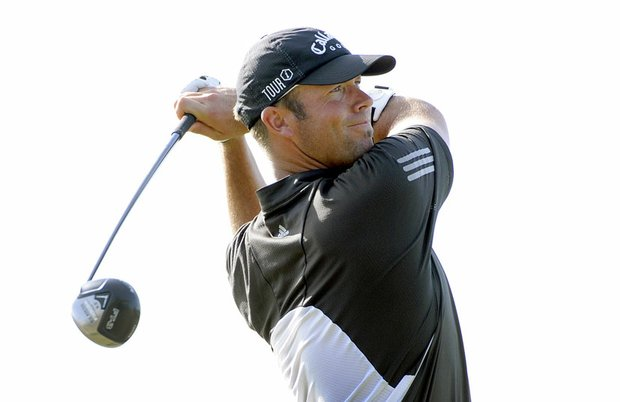 Rich Barcelo hits a drive during the second round of the Nationwide Tour Championship Oct. 23.