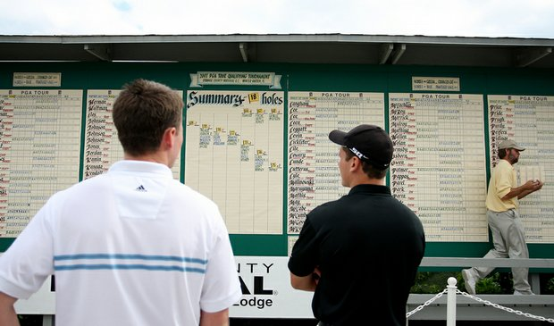 Players check out the scoreboard at Orange County National in Orlando, Fla., during PGA Tour Q-School finals in 2007.
