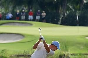 Tom Hoge of Texas Christian University hits his tee shot at No. 2.
