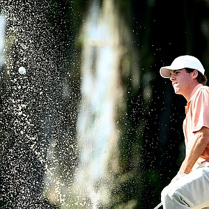 Clemson's Ben Martin hits out of greenside bunker at No. 18.