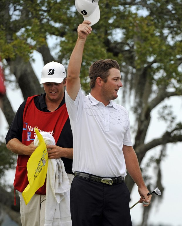 Matt Every celebrates on the 18th green after winning the Nationwide Tour Championship on Oct. 25, 2009.