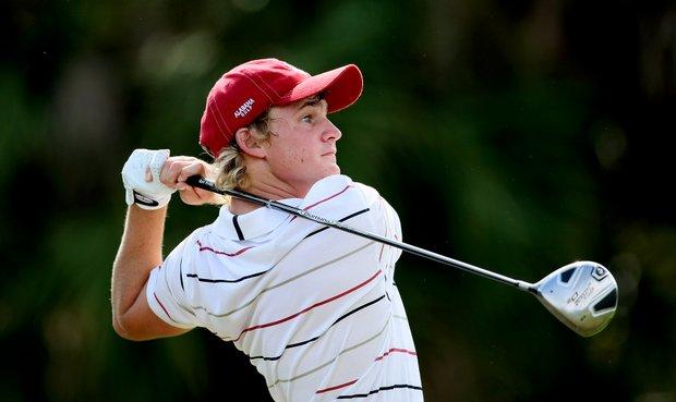 Alabama's Bud Cauley tees off at No. 12 during Round 2.