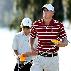 Stanford's Steve Ziegler and Oklahoma State's Peter Uihlein come off of No. 18 after Round 2.