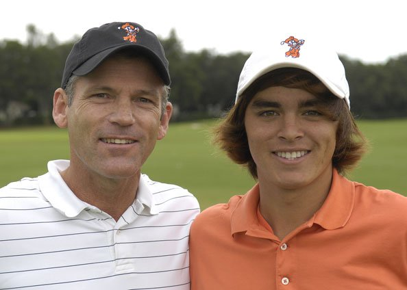 Rickie Fowler with his coach at Oklahoma State, Mike McGraw.