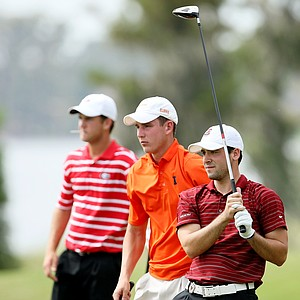 (L to R) South Carolina's Patrick Rada, Illinois' Chris DeForest and Georgia's Brian Carter on No. 17.