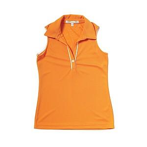 Quagmire's ladies sleeveless orange polo.