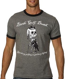 Birth. Golf. Death has a range of spooky golf gear.