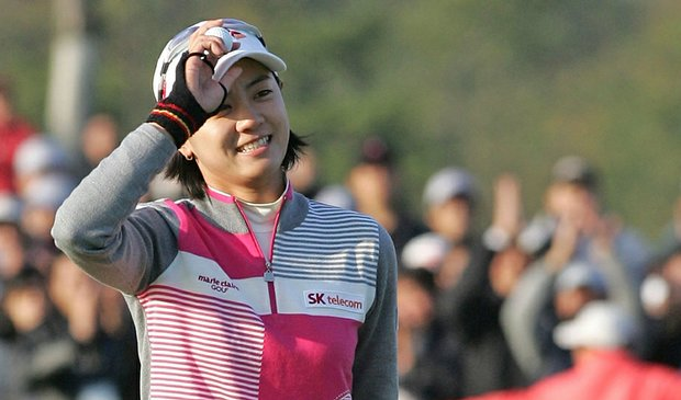 Na Yeon Choi celebrates after the winning of the Hana Bank Kolon Championship on Nov. 1.