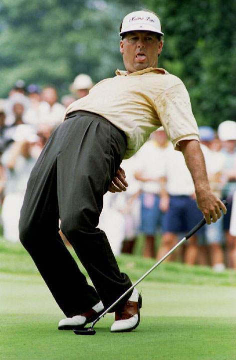 Lanny Wadkins watches as a putt for birdie fails to drop during the 1993 PGA Championship.