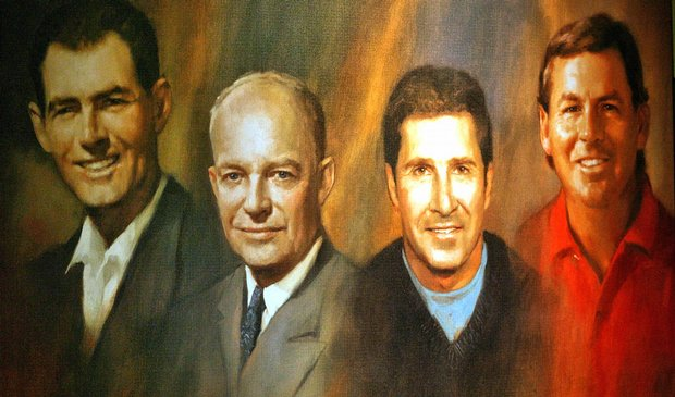 A painting of World Golf Hall of Fame inductees (L-R) Christy O'Connor, President Dwight D. Eisenhower, Jose Maria Olazabal and Lanny Wadkins hangs at the World Golf Hall of Fame induction ceremony.