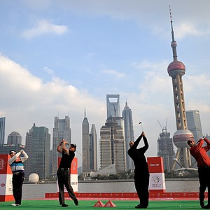 Y.E. Yang, Phil Mickelson, Tiger Woods and Sergio Garcia tee off in Shanghai for a HSBC Champions press conference and photo opt.
