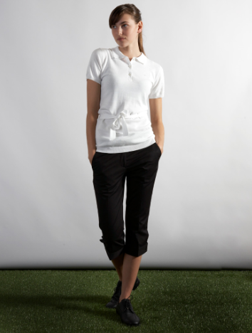 J. Lindeberg:   Almira Soft Cotton knit polo and  Micro Twill black pant
