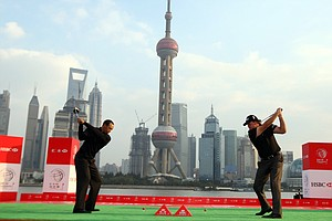 Tiger Woods and Phil Mickelson tee off in Shanghai at the HSBC Champions press conference.