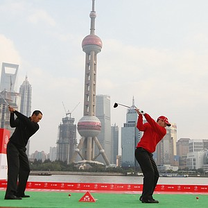Tiger Woods and Sergio Garcia tee off in Shanghai at the HSBC Champions press conference.