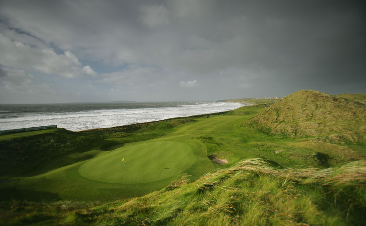 View from behind the green on the par-4 17th at the Old Course at Ballybunion.