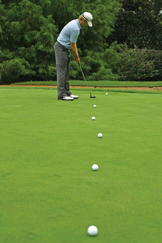 Slocum putts from many distances to the fringe to help control speed.