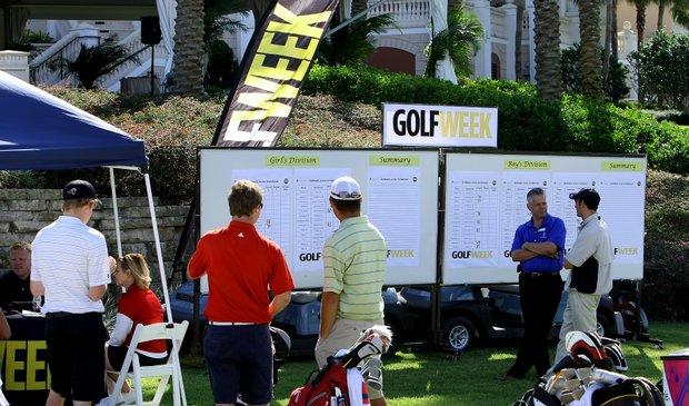 The scoreboard during the Golfweek Junior Invitational at Reunion Resort.