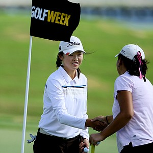 Simin Feng finishes her round during the Golfweek Junior Invitational.