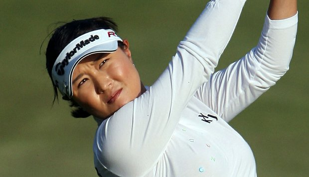 Bo Bae Song plays a shot on the 18th hole during the Mizuno Classic.