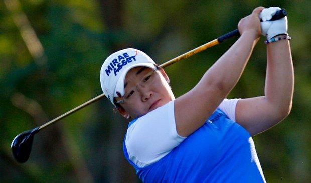 Jiyai Shin tees off the 17th hole during the first round of the Lorena Ochoa Invitational.