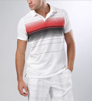 Yarn-dye golf polo in white, also comes in black and stellar blue.