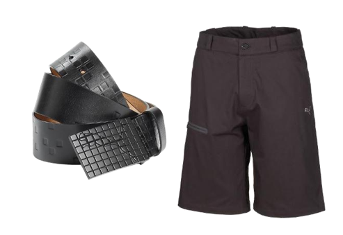 Puma's plain Bermuda shorts and a Gridlock belt.