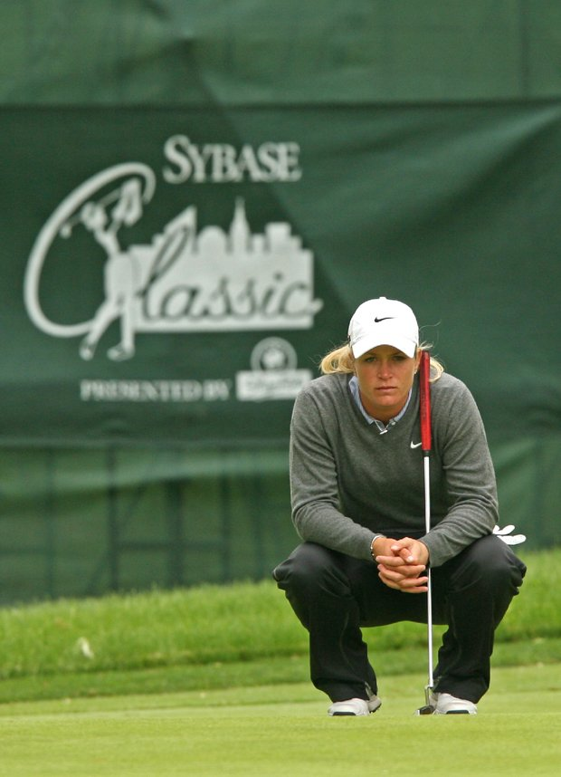 Suzann Pettersen on the 17th hole during the 2009 Sybase Classic at Upper Montclair Country Club. Next year the Sybase will be played at Essex County CC.