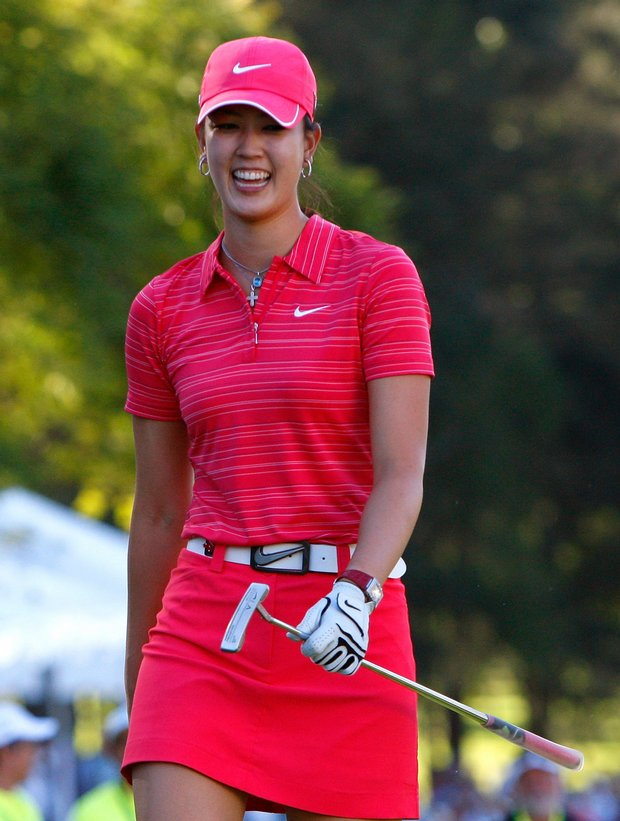 Michelle Wie after hitting out of a bunker onto the 18th green during the final round of the Lorena Ochoa Invitational.