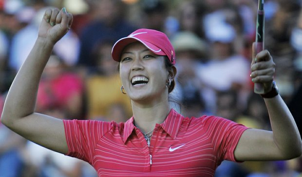 Michelle Wie celebrates after winning her first LPGA title Nov. 15 at the Lorena Ochoa Invitational.