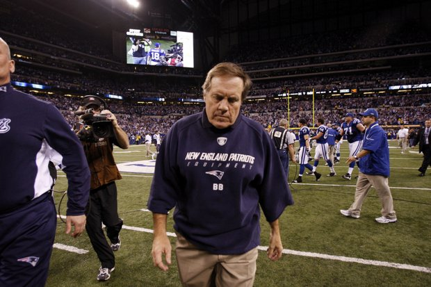 New England Patriots head coach Bill Belichick walks off the field after losing 35-34 to the Indianapolis Colts on Nov. 15.