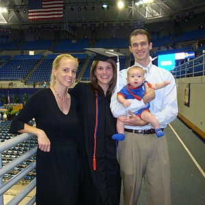 Mallory Code with her older sister, Whitney Code Waechter (left), brother-in-law Scott Waechter and nephew Javen Waechter, at the University of Florida graduation in August.