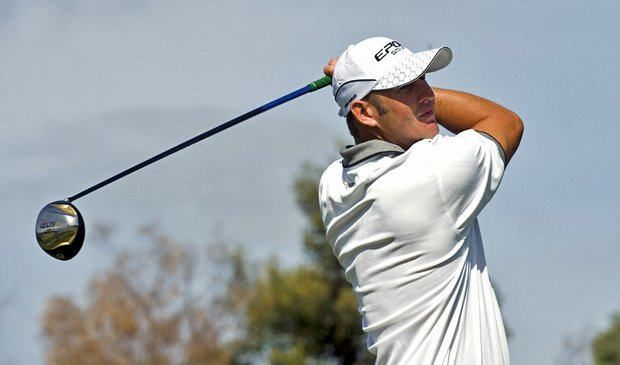 Damien Jordan tees off on the 18th hole during the final round of the Australian Masters golf tournament.