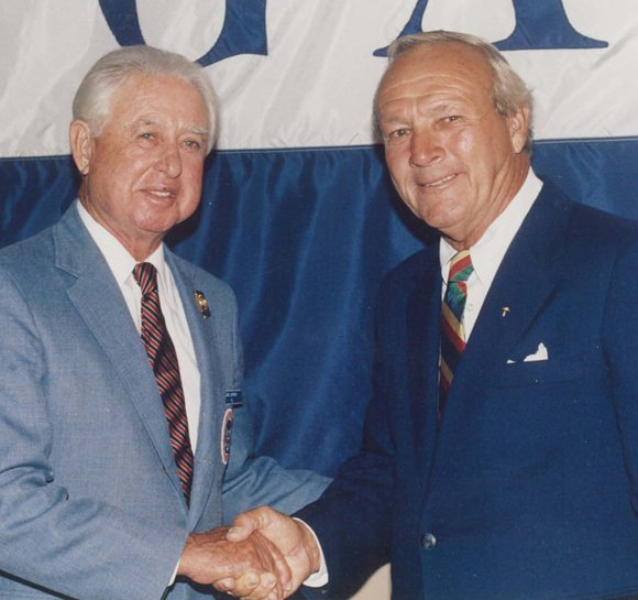 Abie Gordon (left) and Arnold Palmer.