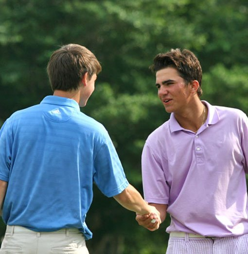 Curtis Thompson (right) and Oliver Schniederjans are in a four-way tie for the lead after the first round of the Polo Golf Junior Classic.