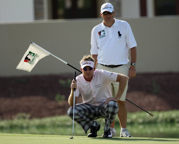 Ian Poulter's caddie wearing a classic-fit Big Pony Polo.
