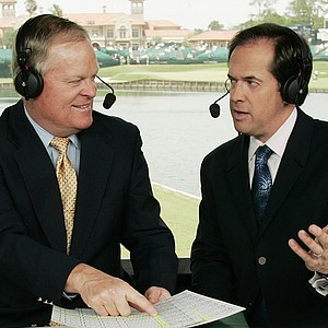 Johnny Miller (left) and Dan Hicks in the NBC booth. The PGA Tour's six-year deal with the CBS and NBC is set to expire in 2012, so ratings will be important this year.