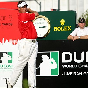 Lee Westwood tees off during the final round of the Dubai World Championship, which is held for the final time in 2011. Where will Europe's Tour Championship end up?