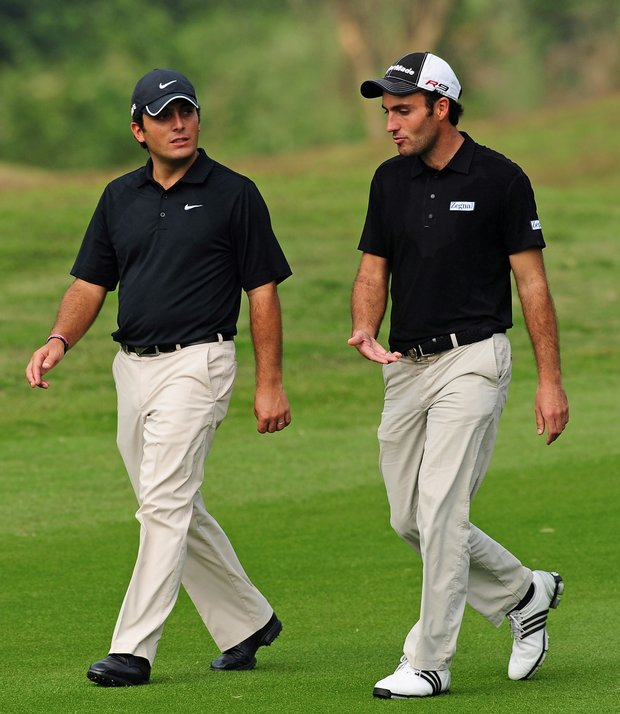 Francesco Molinari and Edoardo Molinari on Day 2 of the Omega Mission Hills World Cup.