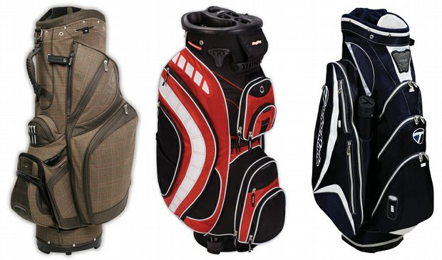(Left to right) Ogio Synchro Hybrid bag / Bag Boy Revolver Plus cart bag / TaylorMade Catalina cart bag