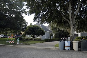 The tree damaged by Tiger Woods in his SUV accident is surrounded by plastic garbage cans Nov. 30 in the Isleworth community in Windermere, Fla.